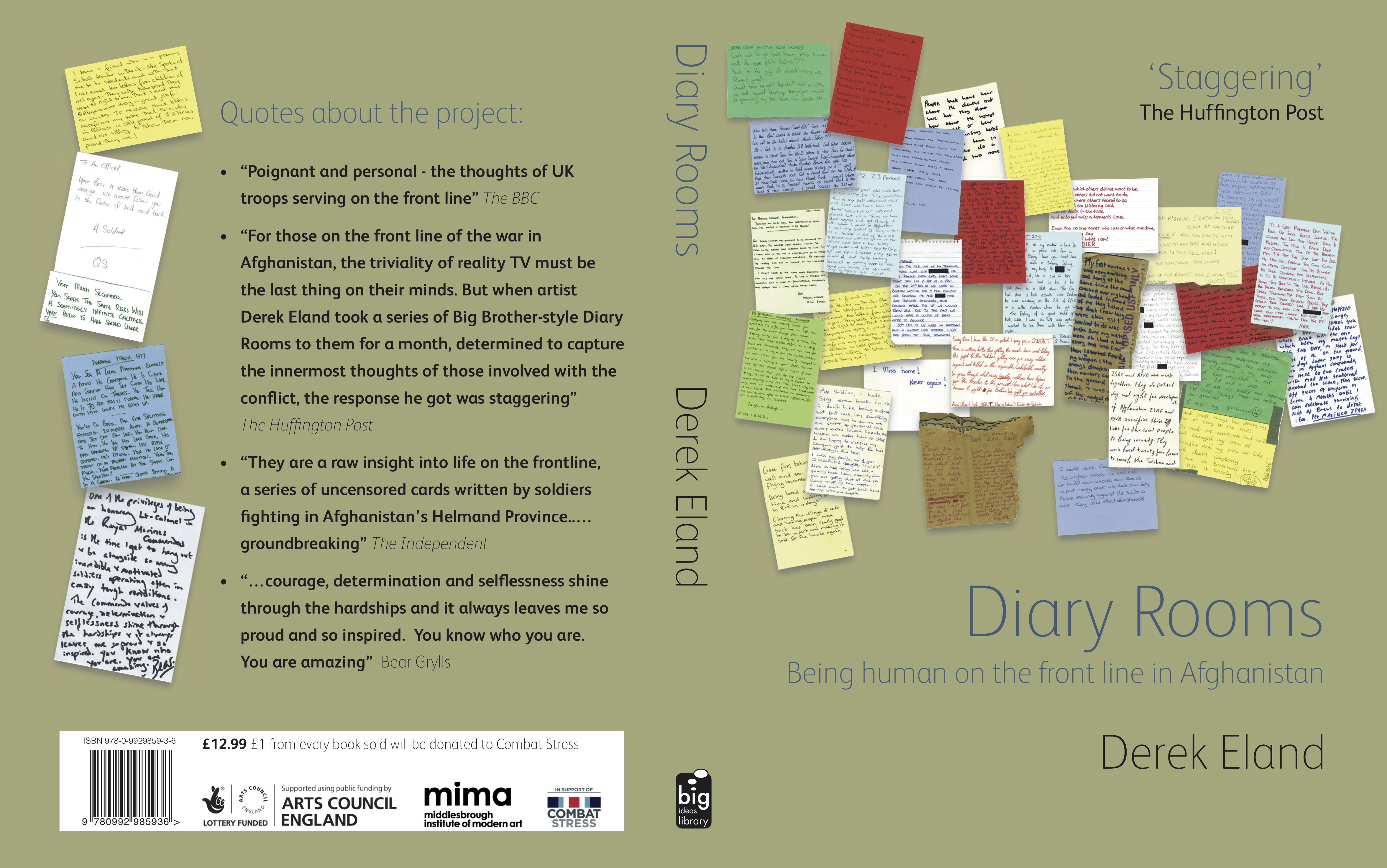"""""""Derek Eland. Diary Rooms: Being Human on the Front Line in Afghanistan. (Book cover and back)"""""""